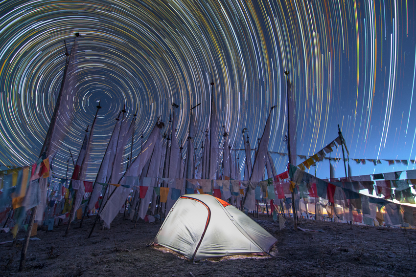 Startrail of Chele La Pass